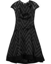 Lela Rose Chevron-Paneled Organza And Twill Dress - Lyst
