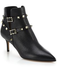 Valentino Rockstud Leather Wrap Booties - Lyst