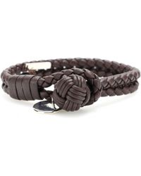 Bottega Veneta Knot Woven Leather Bracelet black - Lyst
