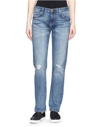 Current/Elliott 'The Long Boyfriend' Ripped Jeans blue - Lyst