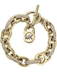 Michael Kors Pavé-embellished Chain-link Gold-tone Bracelet - Lyst