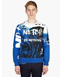 Kenzo Mens Blue Print No Fish Embroidered Sweatshirt - Lyst