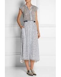 Band Of Outsiders Printed Swiss-Dot Silk Midi Dress - Lyst