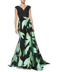 Christian Siriano V-Neck Wrap-Overlay Ball Gown - Lyst