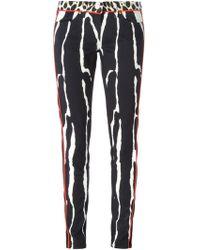 Roberto Cavalli Printed Skinny Trousers - Lyst