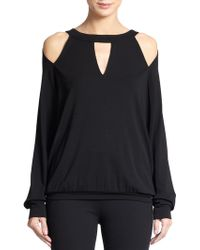 Donna Karan New York Cold Shoulder Blouse - Lyst