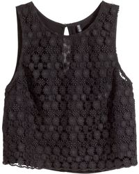 H&M Sleeveless Lace Top - Lyst