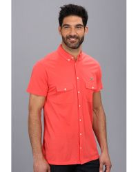 Lacoste Short Sleeve Full Button Double Pocket Micro Pique Polo Shirt - Lyst