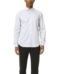 Culturata - Spread Collar Fine Striped Shirt - Lyst