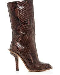 Marni   Brown Python Mid Calf Boots   Lyst