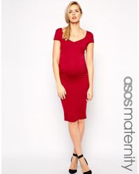 Asos Maternity Body-Conscious Dress With Sweetheart Neck And Cap Sleeve - Lyst