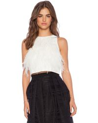Tibi Feather Crop Tank - Lyst