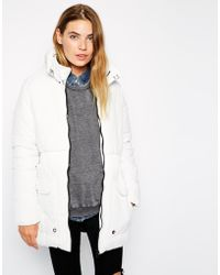 Brave Soul Padded Longline Coat With Front Pockets - Lyst