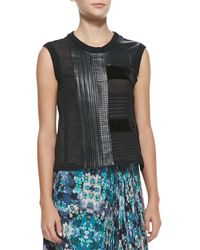 Nanette Lepore Getaway Leatherpatchwork Sleeveless Top Black Xsmall - Lyst
