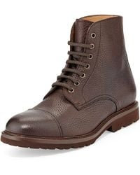 Brunello Cucinelli Laceup Tumbled Calf Leather Boot - Lyst