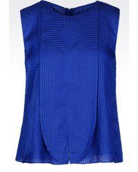 Emporio Armani Top In Micro-Check Silk And Cotton - Lyst