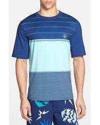 Volcom 'Sub Stripe' Short Sleeve Rashguard blue - Lyst