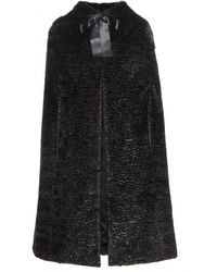 Alexander McQueen Faux-fur Hooded Cape - Lyst