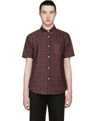 Band of Outsiders Red Printed Short Sleeve Shirt - Lyst