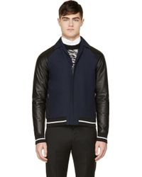 Lanvin Navy and Black Leather Sleeve Jackets - Lyst