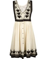 Suno Classic Embroidery Dress white - Lyst