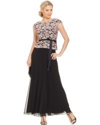 Alex Evenings Floral-Lace Bodice Belted Gown - Lyst