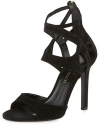 Tamara Mellon Suede Ankle-Cage Sandal - Lyst