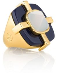 Tory Burch Blue Audrey Ring - Lyst