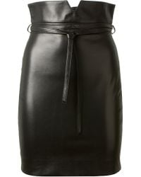 Saint Laurent Black Leather Pencil Skirt - Lyst