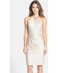 Laundry by Shelli Segal Metallic-Jacquard Sheath Dress - Lyst