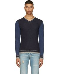 Diesel Navy K_Tricholoma V_Neck Sweater - Lyst