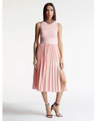 Halston   Knit / Georgette Combo Dress   Lyst