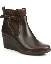 Ugg Emalie Leather & Wool Wedge Ankle Boots - Lyst