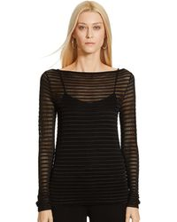 Ralph Lauren Striped Boatneck Sweater - Lyst