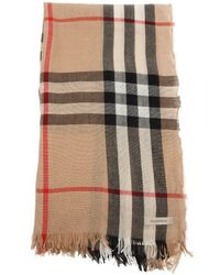 Burberry Camel And Black Wool Nova Check Scarf - Lyst