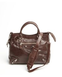 Balenciaga Brown Grained Leather Giant 12 City Convertible Tote - Lyst