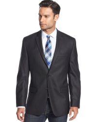 Calvin Klein Black Herringbone Slimfit Sport Coat - Lyst