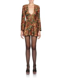 Saint Laurent Floral Brocade Dress multicolor - Lyst