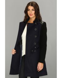 DKNY Trench W Boiled Wool Sleeve Coat - Lyst
