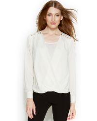 Calvin Klein Roll Tab Sleeve Draped Blouse - Lyst