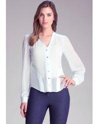 Bebe Silk Rosette Shirt - Lyst