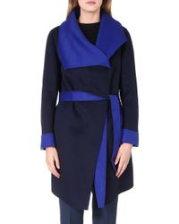 Armani Two Tone Wool Blend Wrap Coat Blue Navy - Lyst