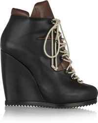 Pierre Hardy Laceup Leather Wedge Ankle Boots - Lyst