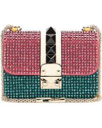 Valentino Lock Mini Crystal-Embellished Shoulder Bag multicolor - Lyst