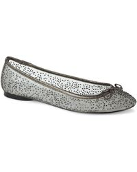 Adrianna Papell - Selina Embellished Leather And Mesh Ballet Flats - Lyst