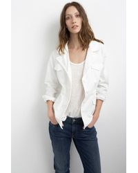 Velvet By Graham & Spencer Makenzie White Cotton Twill Utility Jacket white - Lyst