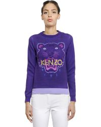 Kenzo Tiger Embroidered Cotton Sweater - Lyst