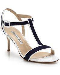 Manolo Blahnik Two-Tone Linen Sandals - Lyst