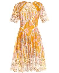 Zimmermann Confetti Scallop Floral-print Cotton Dress - Lyst