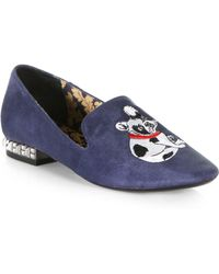 Boutique 9 - Yorocco Embroidered Bulldog Suede Smoking Slippers - Lyst